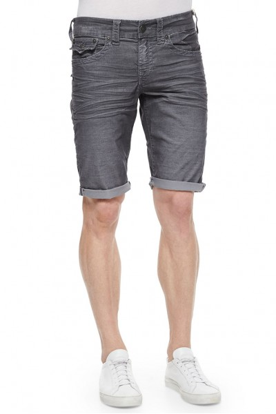 True Religion - Black wash Geno Slim Short ABU Washed Black Men's Shorts