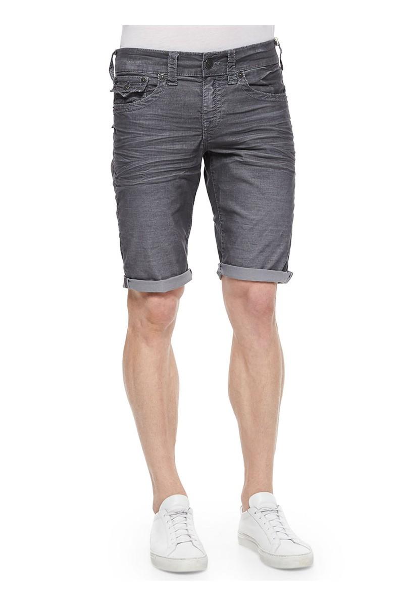 True Religion - Black wash Geno Slim Short ABU Washed Black Men's Shorts