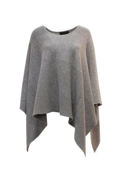 Central Park West - Asymmetrical Poncho Sweater - Gray
