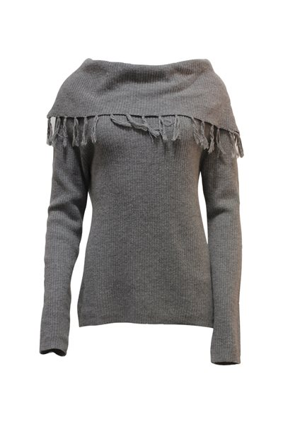 Central Park West - Cowl Neck Fringe Sweater