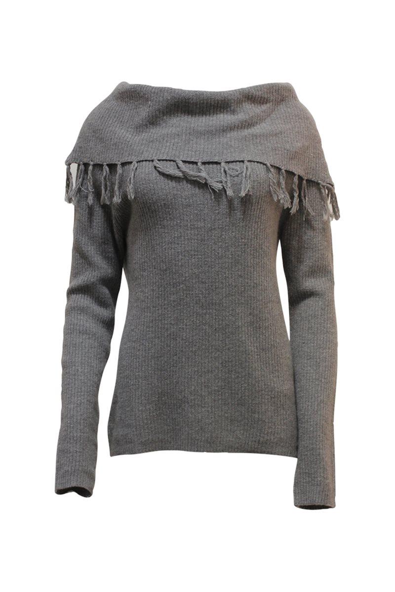 Park West - Cowl Neck Fringe Sweater