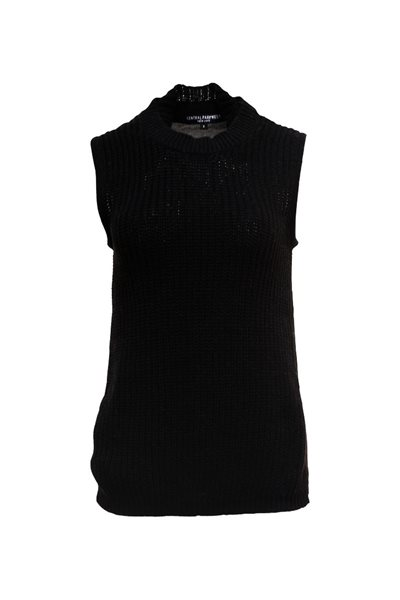 Central Park West - Sleeveless Knit Top - Black
