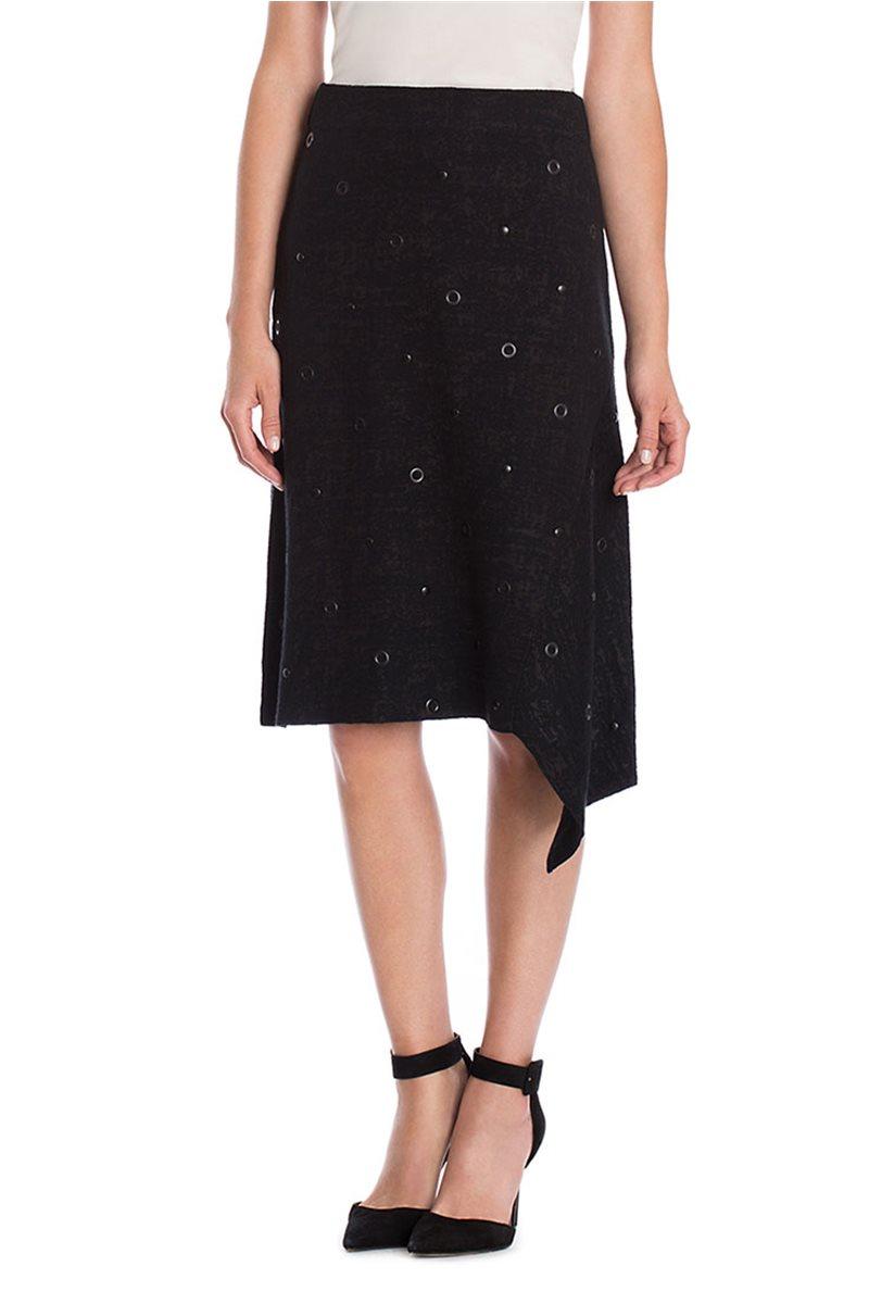 Nic + Zoe - Asymmetrical Grommet Skirt - Black Onyx