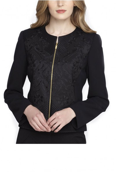 Tahari - Embroidered Zip-Front Jacket - Black