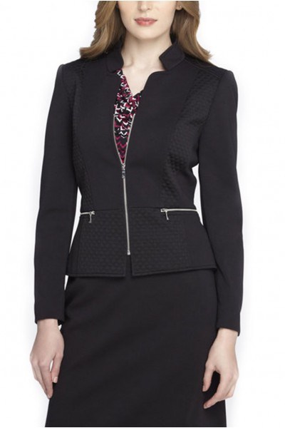 Tahari - Diamond-Quilted Starneck Jacket - Black