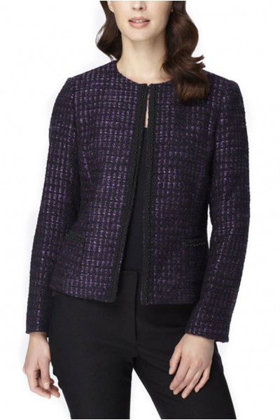 Tahari - Beaded Boucle Plaid Jacket- Purple