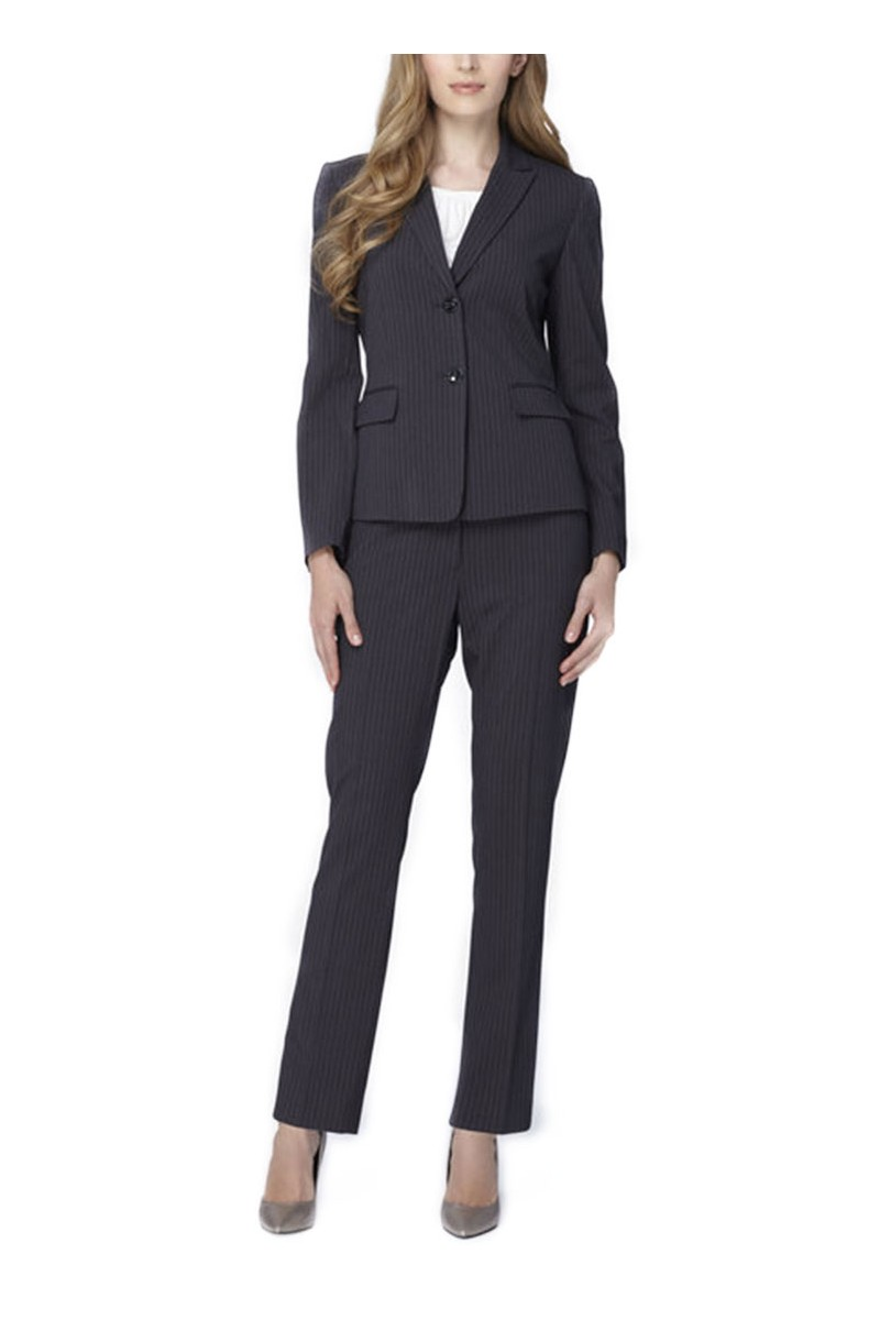 Tahari - Two-Button Pinstriped Pantsuit - Grey