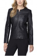 Tahari - Quilted Faux Leather Jacket - Black