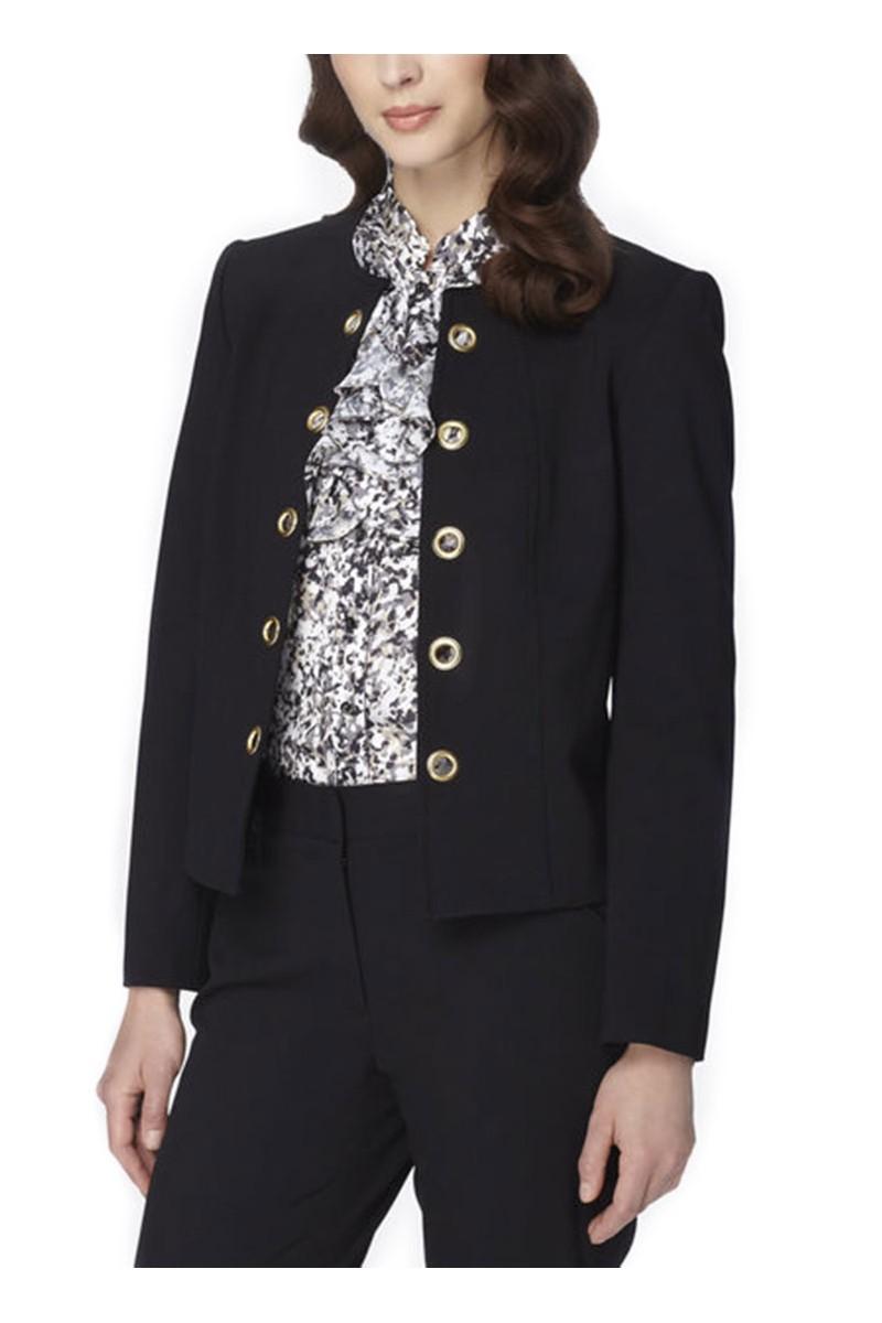 Tahari - Golden Grommet Ponte Knit Jacket- Black