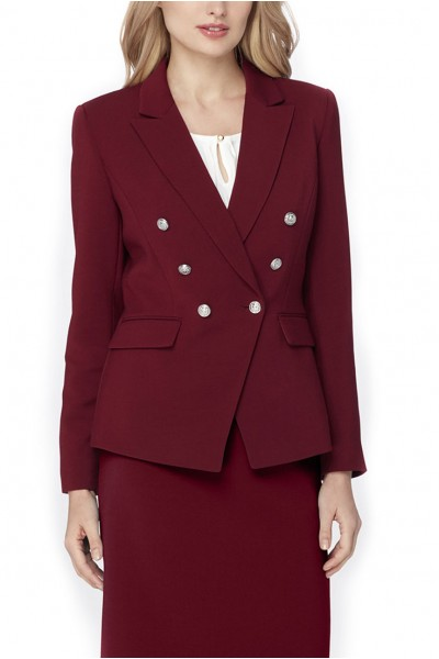 Tahari - Double-Breasted Ponte Knit Jacket - Wine