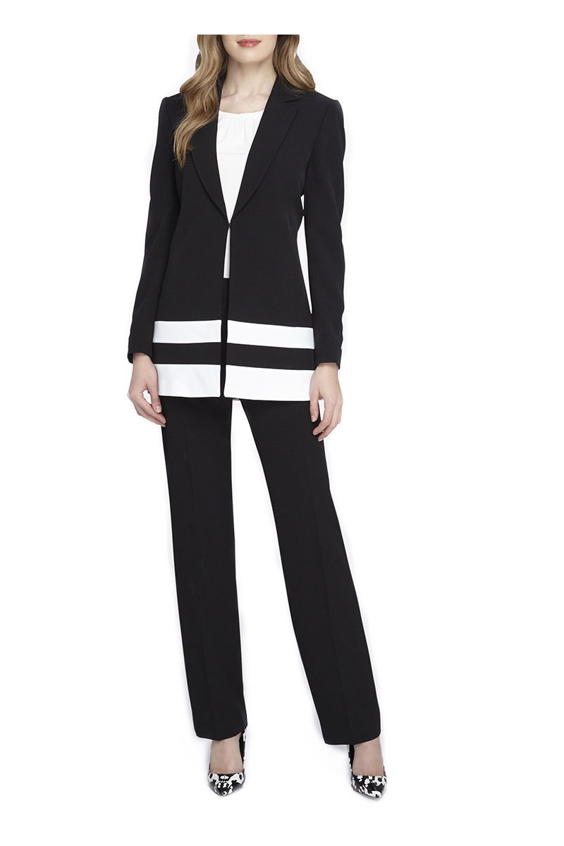Tahari - Border Striped Crepe Pantsuit - Black