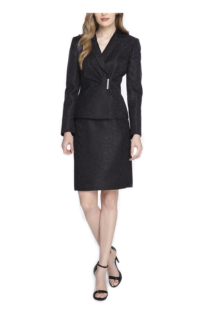 Tahari - Side-Shirred Jacquard Skirt Suit - Black