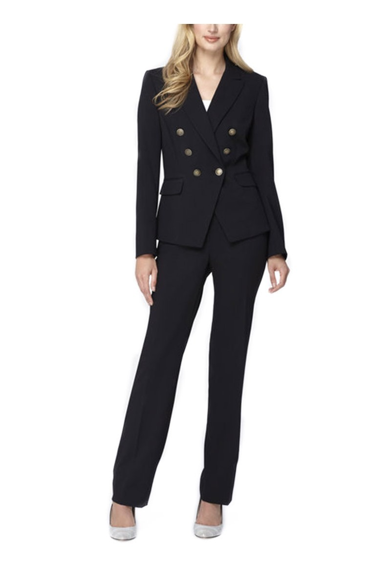 Tahari - Double-Breasted Bi-Stretch Pantsuit - Black