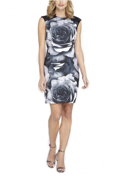 Tahari - Exploded Floral Print Scuba Sheath - Black