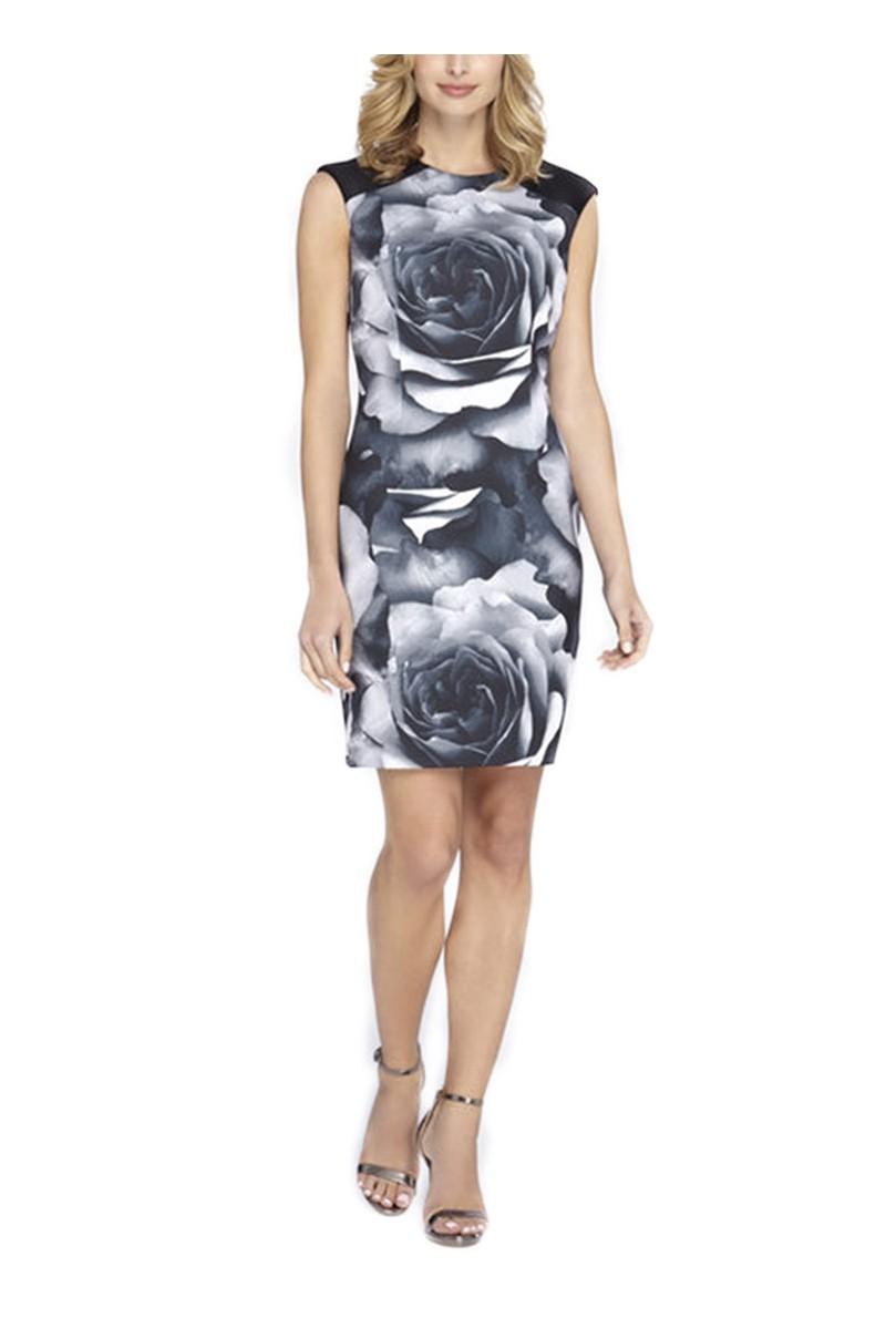 Tahari - Exploded Floral Print Scuba Sheath - Black