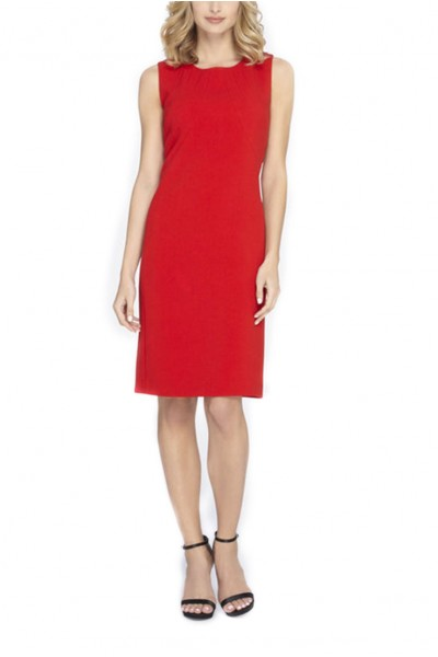 Tahari - Seamed Bodice Sheath - Red
