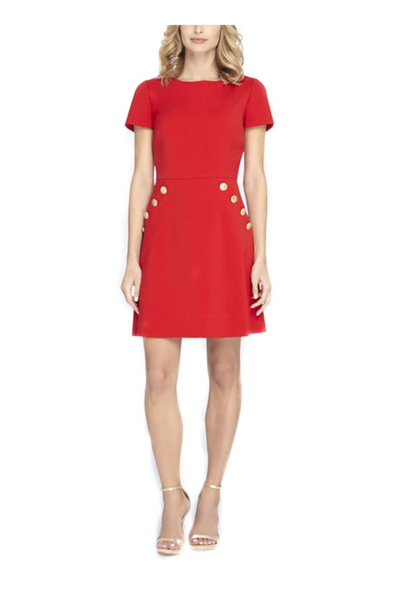 Tahari - Button Detailed A-Line Dress - Red