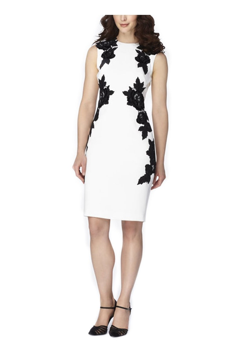 Tahari - Floral EmbroideWhite Crepe Sheath - White