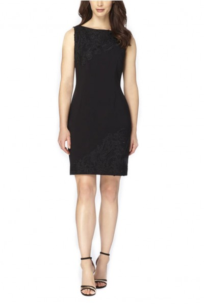 Tahari - Rhinestone-Trimmed Lace-Appliqued Sheath - Black
