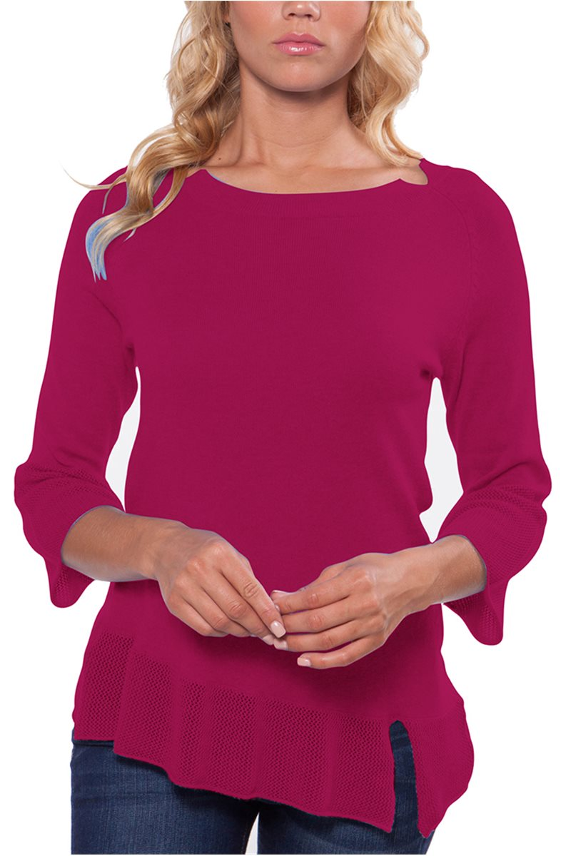 Caroline Grace - Women's Diagonal Hem Tunic with Mesh Trim and Neck Detail