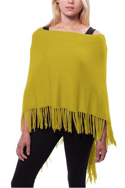 Caroline Grace - Women's Trade Wind Cotton Cashmere Topper w/ Fringe