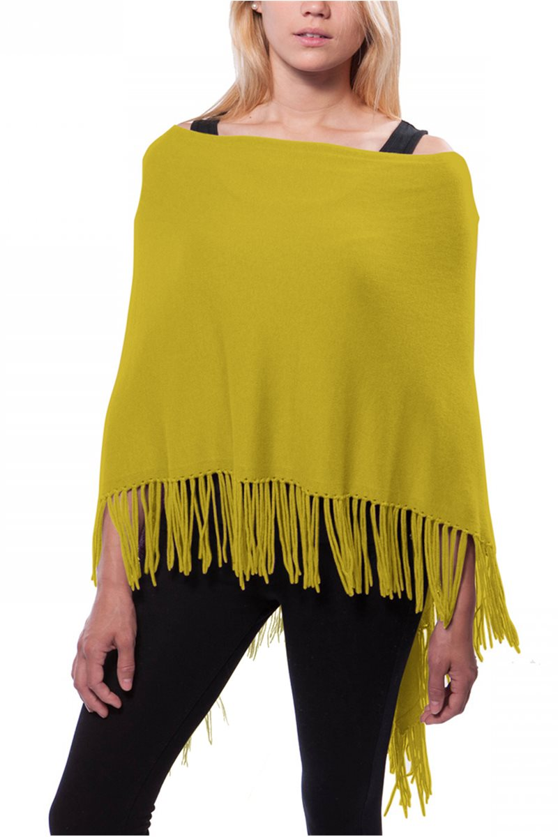 Caroline Grace - Women's Trade Wind Cotton Cashmere Topper w/ Fringe