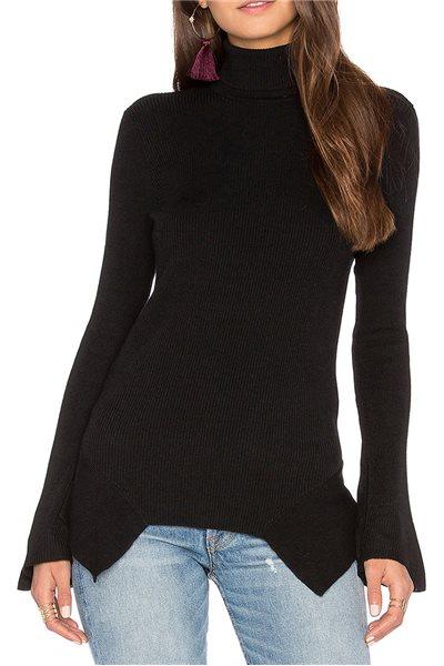 Central Park West - Brighton bell Sleeve Turtleneck Sweater - Black