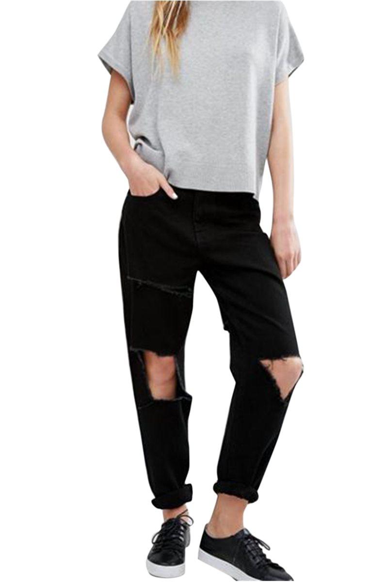 Waven - Womens Aki True Boyfriend Jeans - Charcoal Black