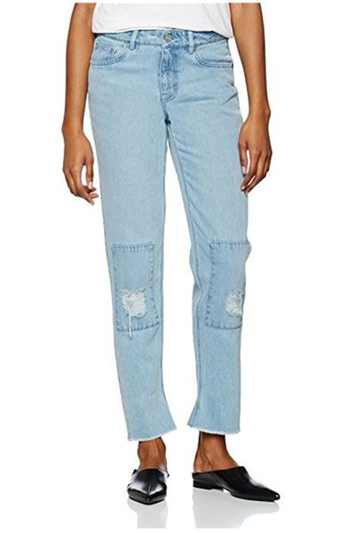 Waven - Womens Aki True Boyfriend Jeans - Allie Blue Patches