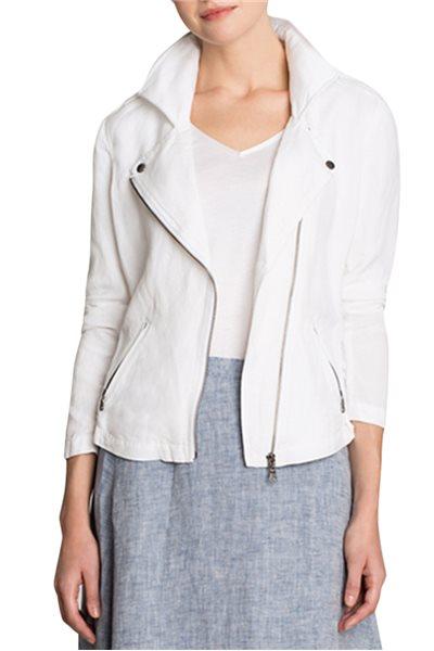 Nic + Zoe - Linen Biker Jacket - Paper White