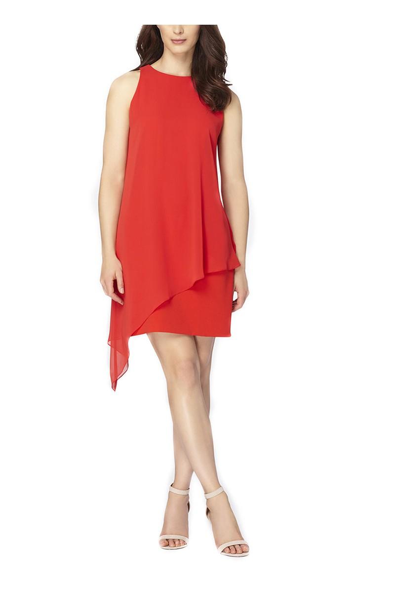 Tahari - Women's Chiffon Overlay Crepe Dress  Scarlet