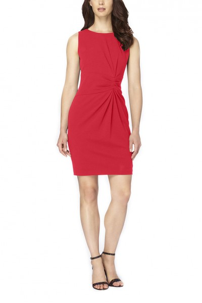 Tahari - Women's Ruched Crepe Sheath - Geranium