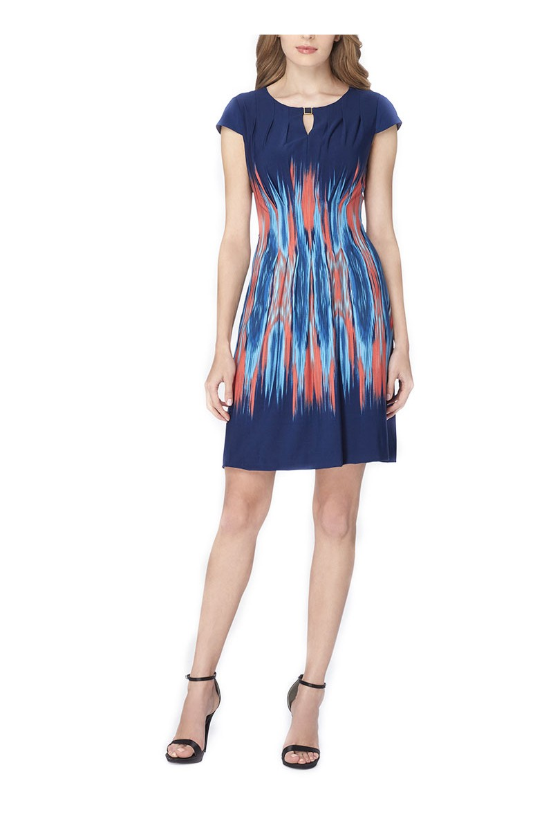 Tahari - Women's Flame Print Jersey Dress - Rasp - Blue