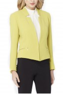 Tahari - Star Neck Crinkled Crepe Jacket - Citron