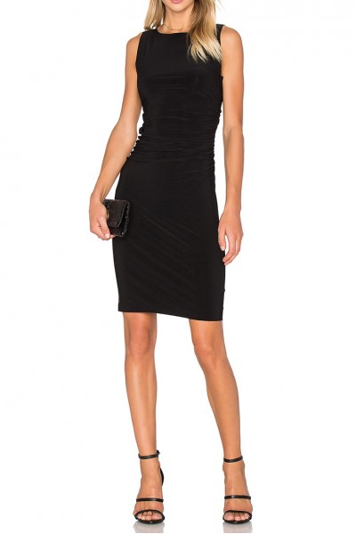 Norma Kamali - Sleeveless Shirred Waist Dress - Black