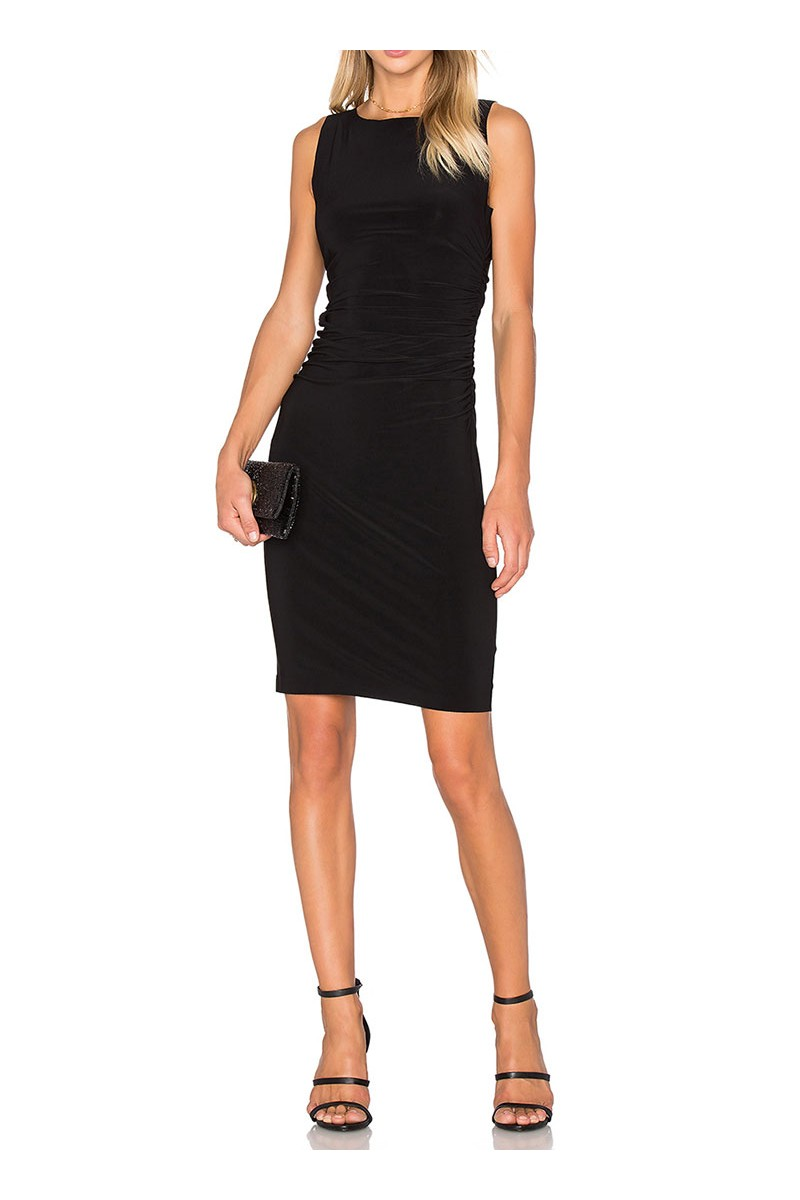 Norma kamali sleeveless shirred waist dress black - Norma kamali costumi da bagno ...