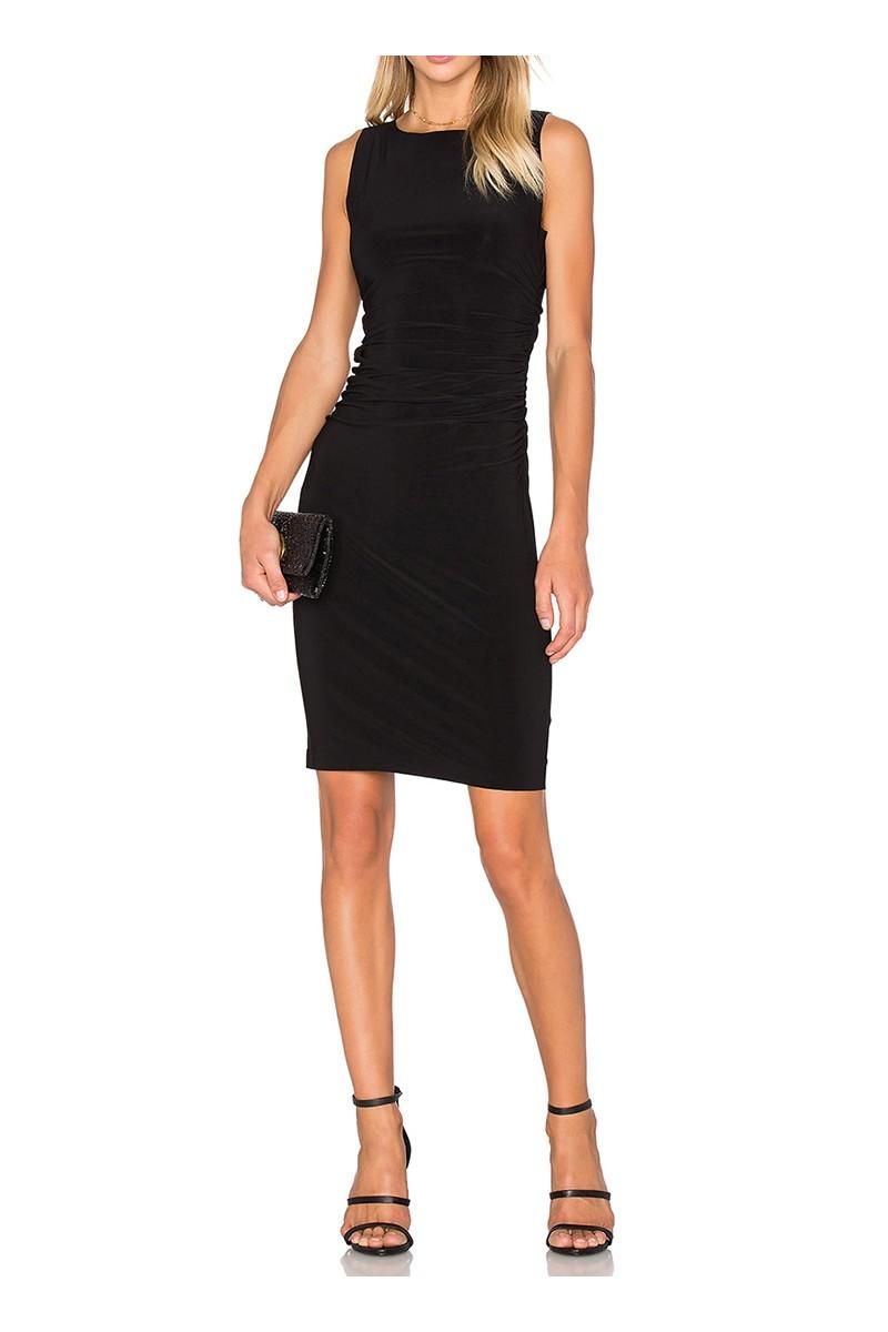 Norma kamali sleeveless shirred waist dress black - Norma kamali costumi da bagno ...