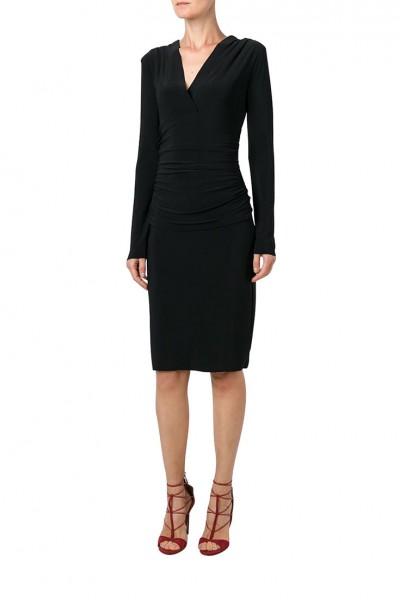 Norma Kamali - V Neck Longsleeve Shirred Waist Dress - Black