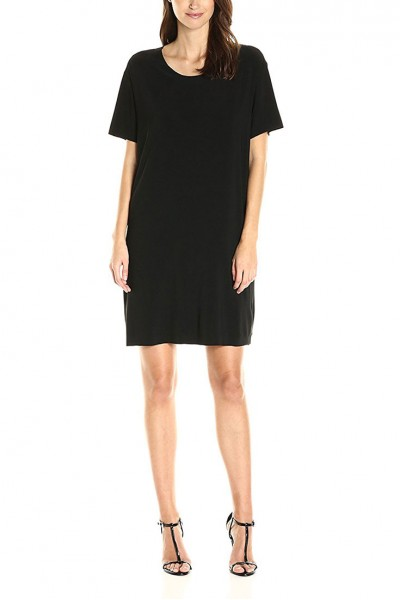 Norma Kamali - Short Sleeve Boxy Dress To Knee - Black