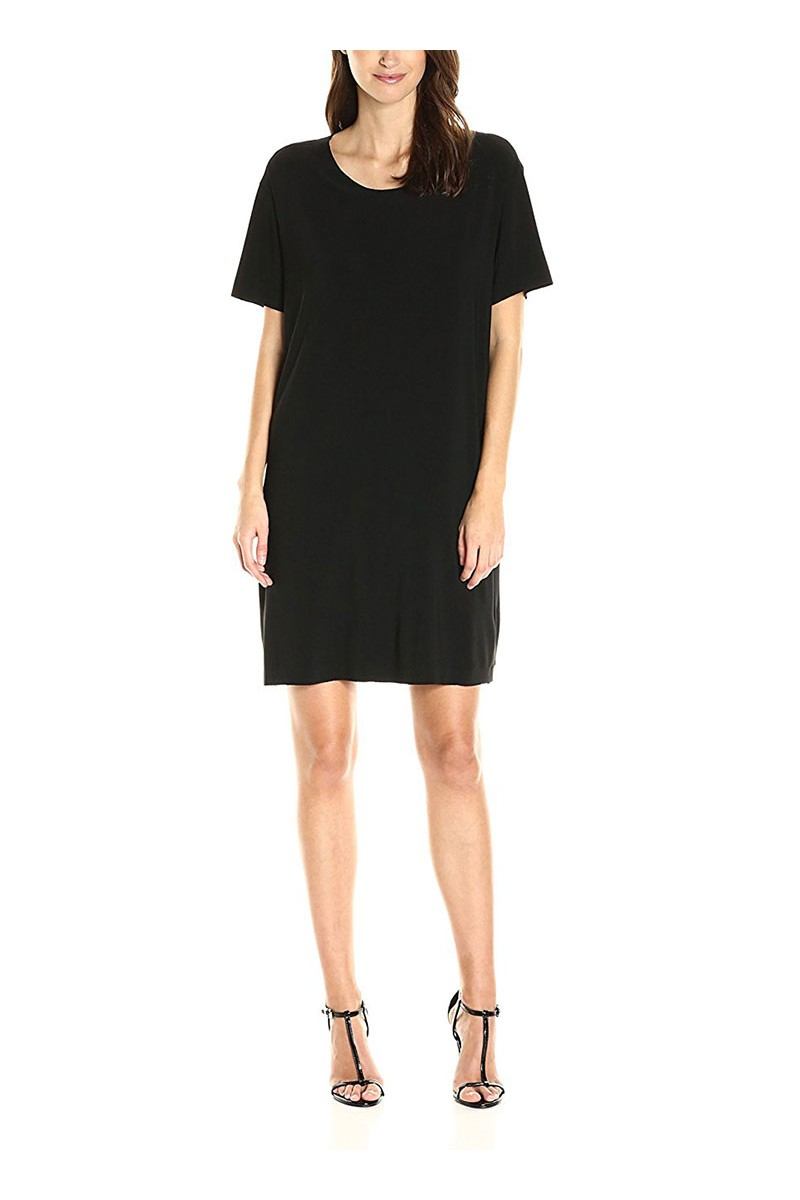 Norma Kamali - Short Sleeve Boxy Dress To Knee - Black