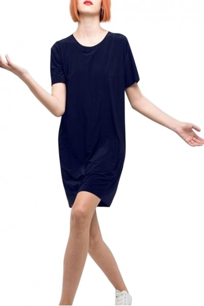 Norma Kamali - Short Sleeve Boxy Dress To Knee - Midnight