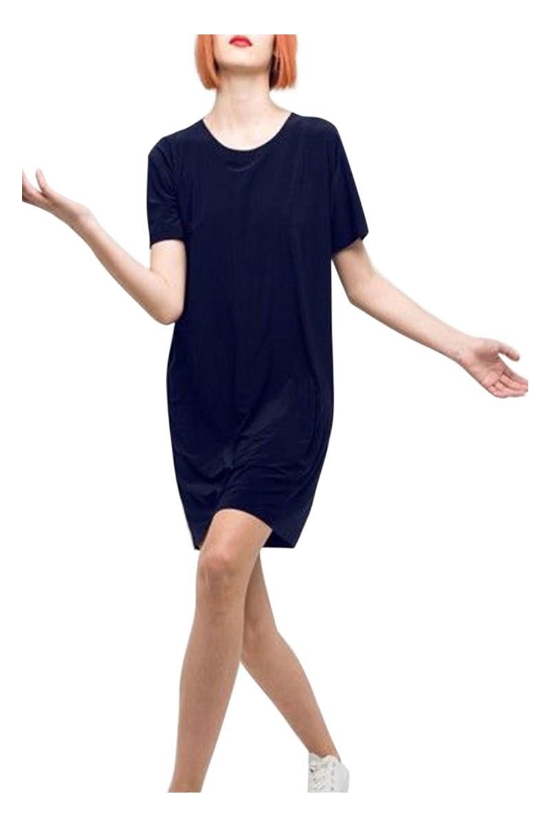 Norma kamali short sleeve boxy dress to knee midnight - Norma kamali costumi da bagno ...