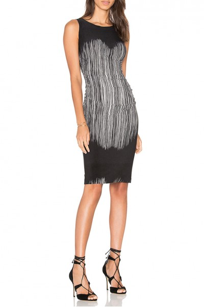 Norma Kamali - Sleeveless Shirred Waist Dress - Fringe