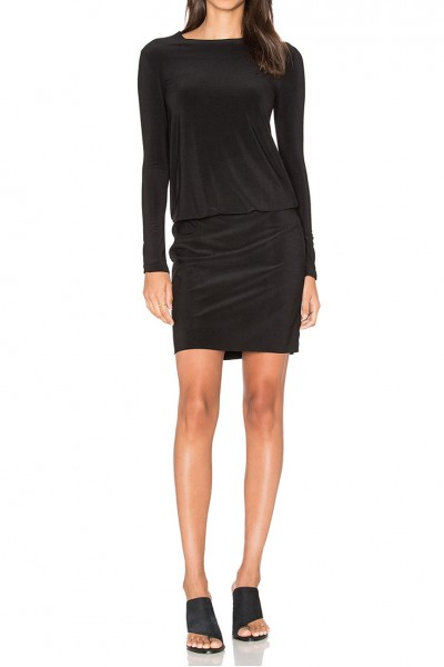 Norma Kamali - Long Sleeve Babydoll Dress - Black