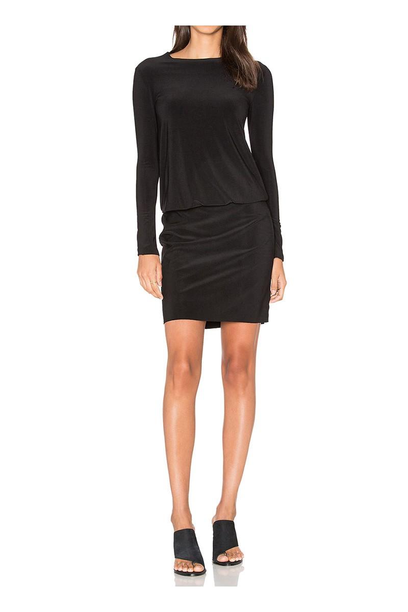 Norma Kamali - Long Sleeve Babydoll Dress - Black