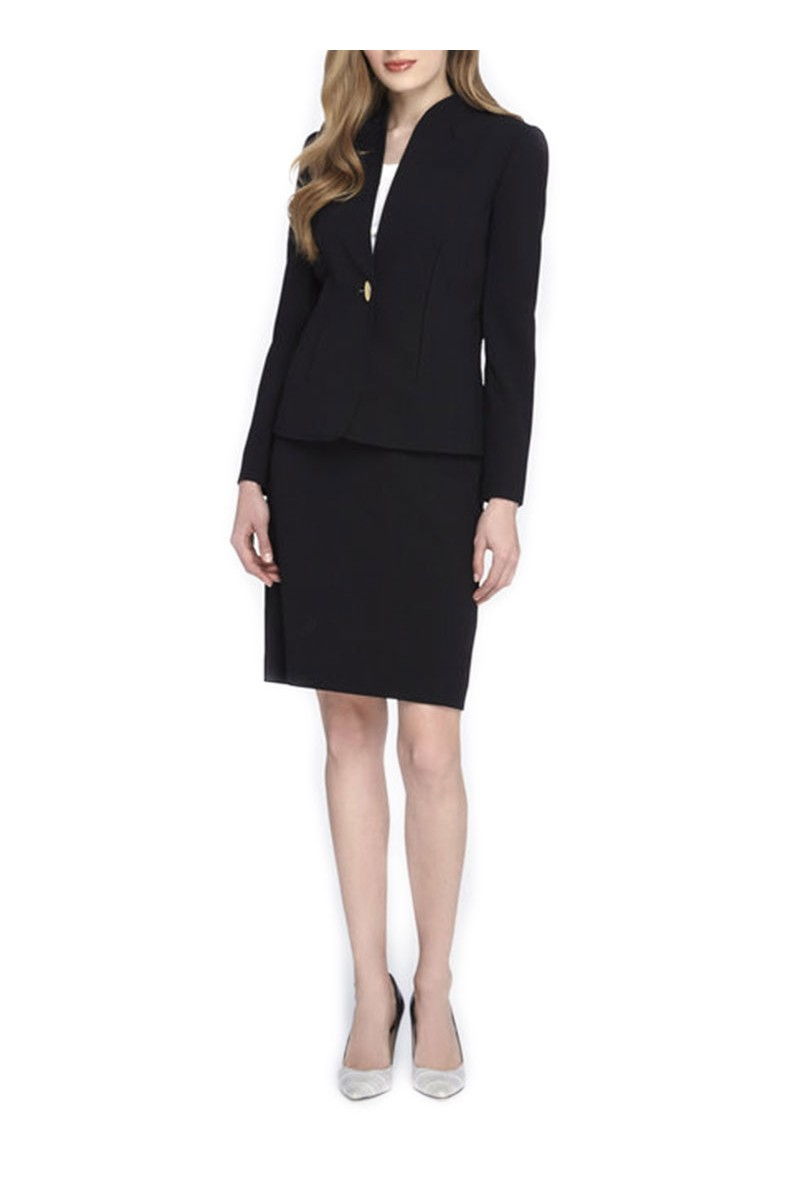 Tahari - Stand-Collar Skirt Suit - Black
