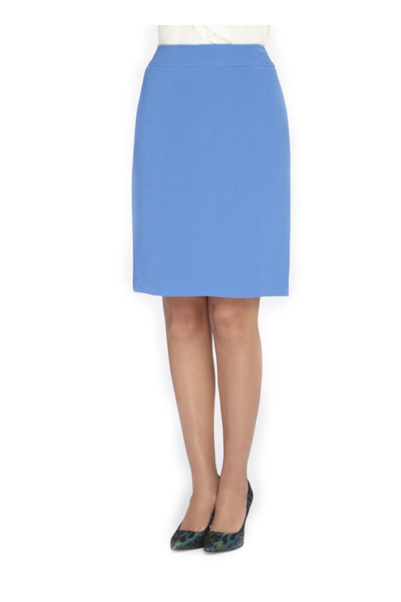 Tahari - TextuRed Crinkle Straight Skirt - Riviera Blue