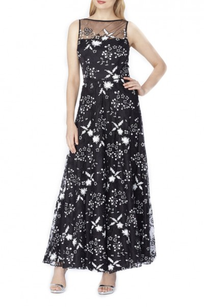 Tahari - Illusion Sequin EmbroideRed Gown - Black White