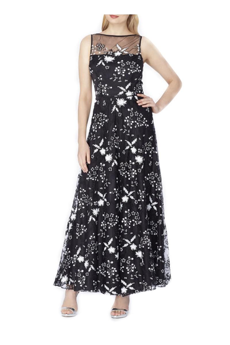 Tahari - Illusion Sequin EmbroideRed Gown - Black White