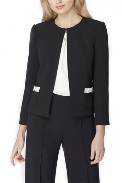 Tahari - Bow-Pocket Pebble Crepe Jacket - Black
